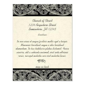 Tarjeta negra de la dirección del boda del damasco invitación 10,8 x 13,9 cm