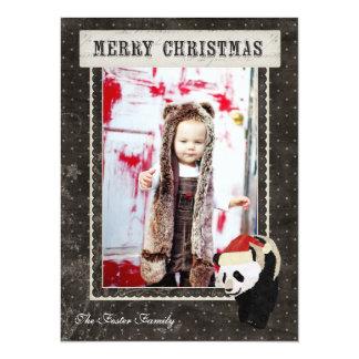 Tarjeta negra de la foto del navidad de Polkadot Invitación 13,9 X 19,0 Cm