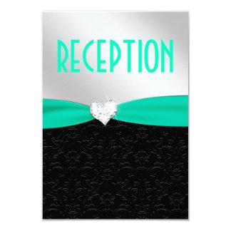 Tarjeta negra de la recepción del diamante del invitación 8,9 x 12,7 cm
