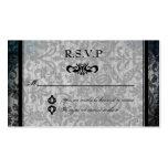 Tarjeta negra de lujo de RSVP de la recepción del  Plantillas De Tarjetas Personales