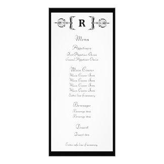 Tarjeta negra del estante del menú del boda del