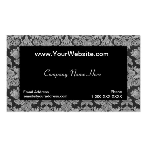 Tarjeta negra del perfil del damasco de la pendien plantillas de tarjetas de visita