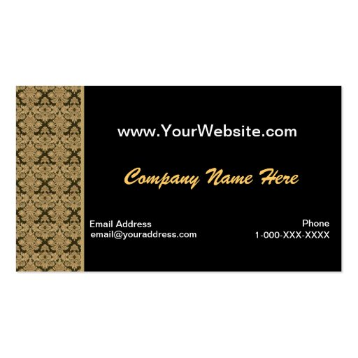 Tarjeta negra del perfil del damasco del oro tarjeta de visita