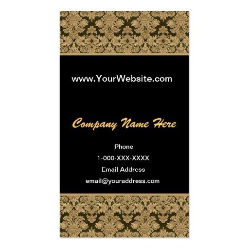 Tarjeta negra del perfil del damasco del oro plantilla de tarjeta de negocio