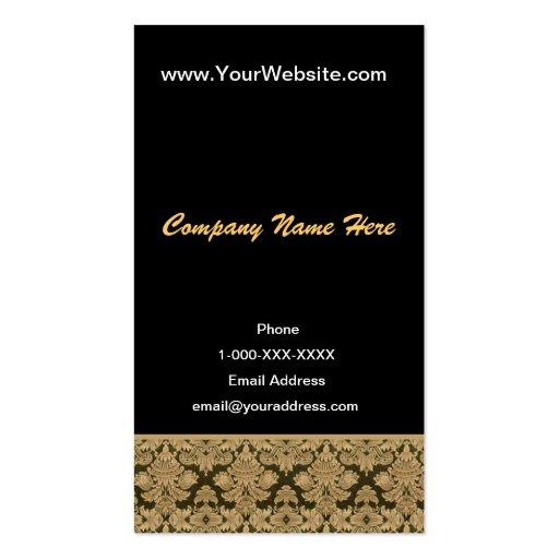 Tarjeta negra del perfil del damasco del oro tarjetas de visita