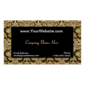 Tarjeta negra del perfil del damasco del oro tarjetas de negocios