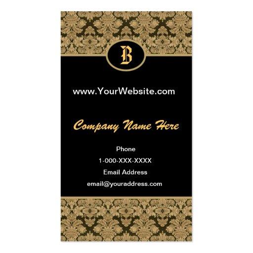 Tarjeta negra del perfil del monograma del damasco plantilla de tarjeta personal