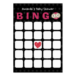 Tarjeta negra linda del bingo de la fiesta de tarjetas de visita grandes