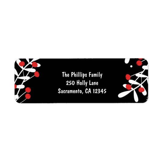 Tarjeta negra roja del día de fiesta de las bayas etiqueta de remitente