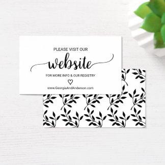 Tarjeta negra simple del Web site del boda de la