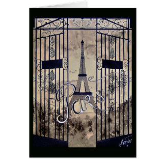 tarjeta negra Vieja París arabescos pórtico sepia