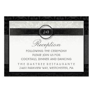 Tarjeta negra y blanca de la recepción del art tarjetas de visita grandes