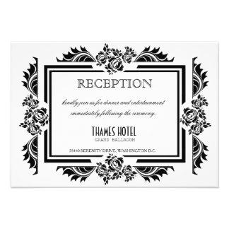 Tarjeta negra y blanca de la recepción nupcial de invitación