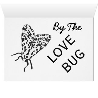 Tarjeta negra y blanca del insecto del amor