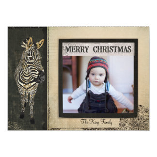 Tarjeta negra y de marfil de la foto del navidad anuncio