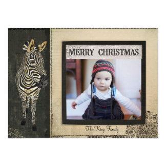 Tarjeta negra y de marfil de la foto del navidad invitación 13,9 x 19,0 cm