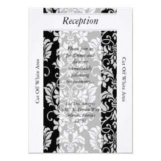 Tarjeta negra y gris de la recepción nupcial del invitación 12,7 x 17,8 cm