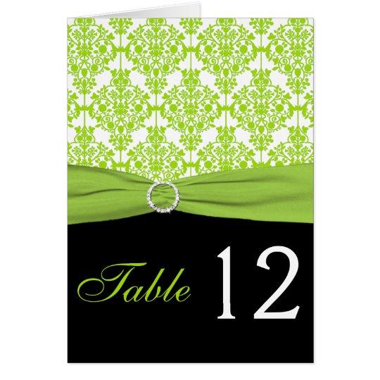 Tarjeta negra y verde del número de la tabla del
