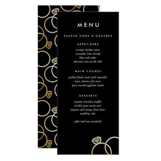 Tarjeta Negro de encargo moderno del menú del boda de los
