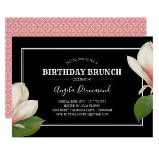 Tarjeta Negro del brunch del cumpleaños de la magnolia