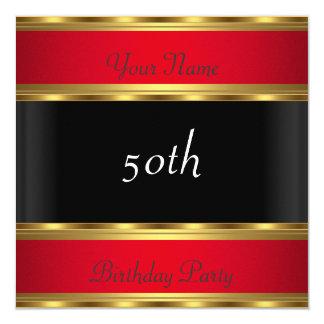 Tarjeta Negro rojo del oro de la fiesta de cumpleaños