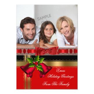 Tarjeta Negro rojo del oro de los saludos del navidad del