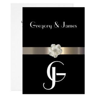Tarjeta Negro y gay del oro/invitación lesbiana del boda