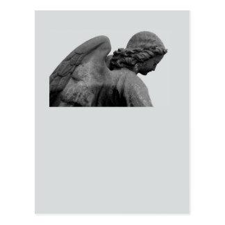 tarjeta neutral de luto con ángel postal