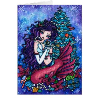 Tarjeta Nevado atesora navidad de la orca de la sirena de