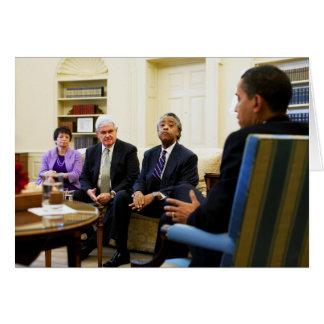 Tarjeta Newt Gingrich, Barack Obama, Jarrett y Sharpton