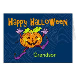 Tarjeta Nieto feliz del feliz Halloween de la calabaza