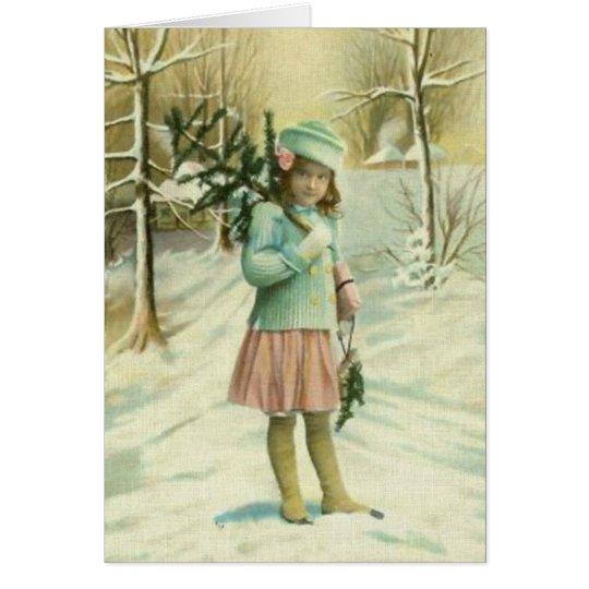 Tarjeta Niña en invierno