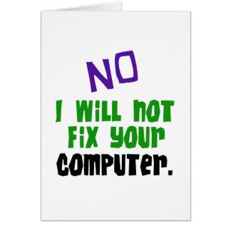Tarjeta Ningún no fijaré su ordenador