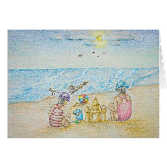 Tarjeta Niños en la playa