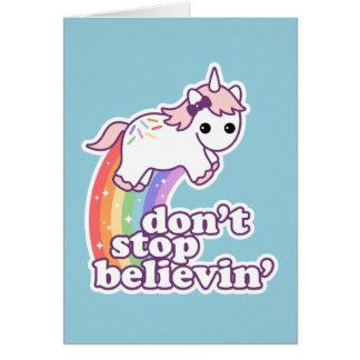 Tarjeta No pare Believin en unicornios
