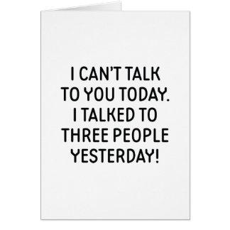 Tarjeta No puedo hablar con usted hoy