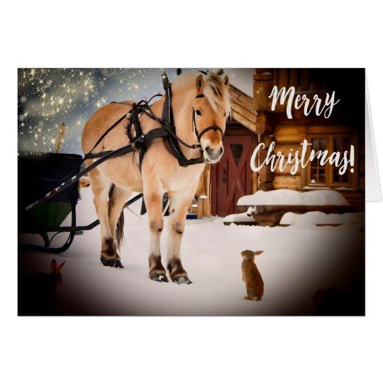 Tarjeta Noche estrellada de las Felices Navidad en la