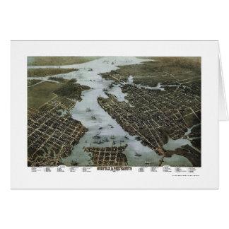 Tarjeta Norfolk y Portsmouth, mapa panorámico del VA -