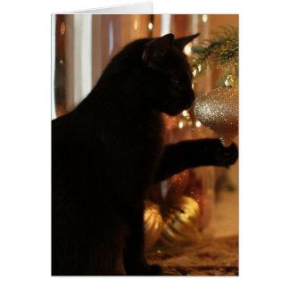 Tarjeta Notas del gatito del navidad, gato negro/ornamento