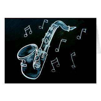 Tarjeta Notas del saxofón y de la música