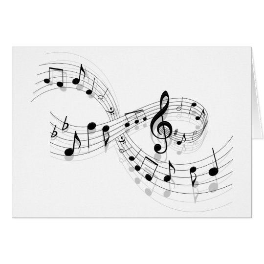 Tarjeta Notas musicales sobre una línea de personal
