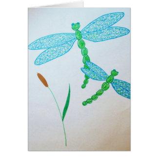 Tarjeta notecard de las libélulas