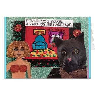 Tarjeta Notecard-es la casa de los gatos que apenas pago