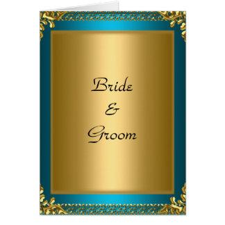 Tarjeta Novia verde azulada y novio del oro del boda
