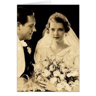 Tarjeta Novia y novio del boda del vintage