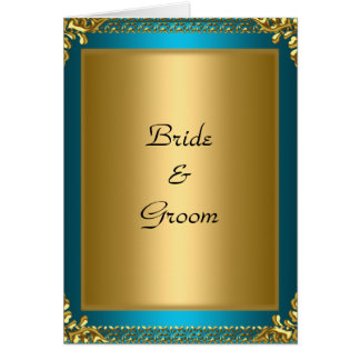 Tarjeta Novia y novio del trullo del oro del boda