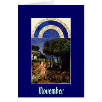 Tarjeta Noviembre - baya de Les Tres Riches Heures du Duc