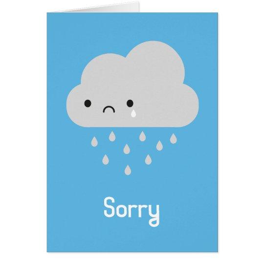 Tarjeta Nube de lluvia triste de Kawaii - triste