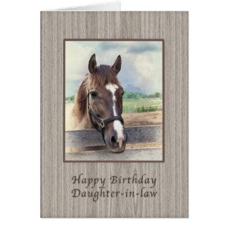 Tarjeta Nuera, cumpleaños, caballo de Brown con el freno