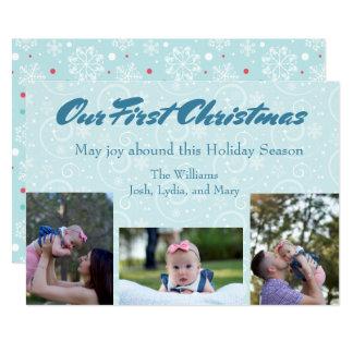 Tarjeta Nuestro primer navidad con la foto del bebé